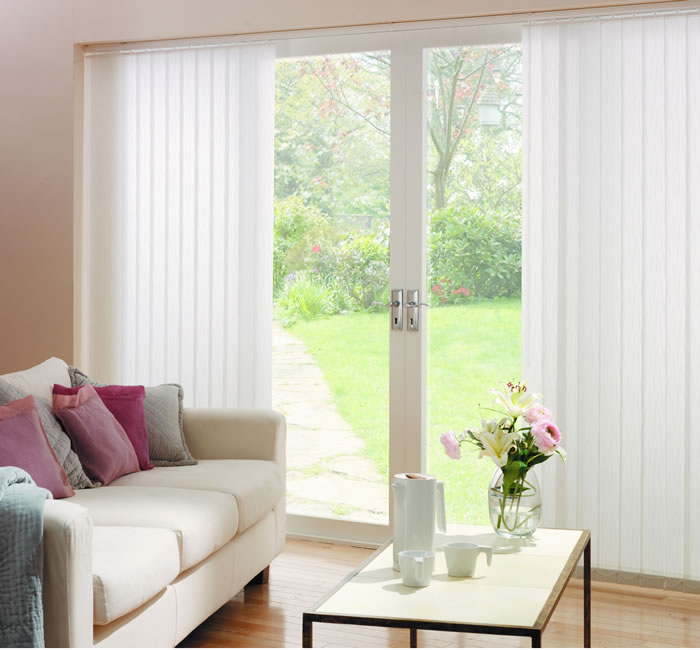 vertical blinds interior white